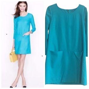 J. Crew Wool Jules Turquoise Shift Dress sz 0